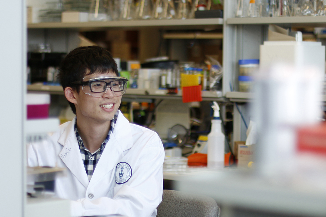 student in research lab
