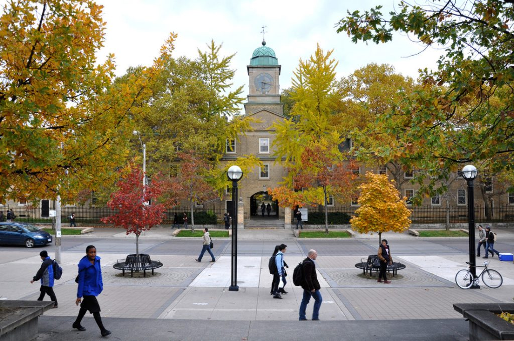 As seen from Sidney Smith Hall on St. George Street.