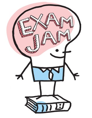 Illustration of a person with books and the words Exam Jam written on his head