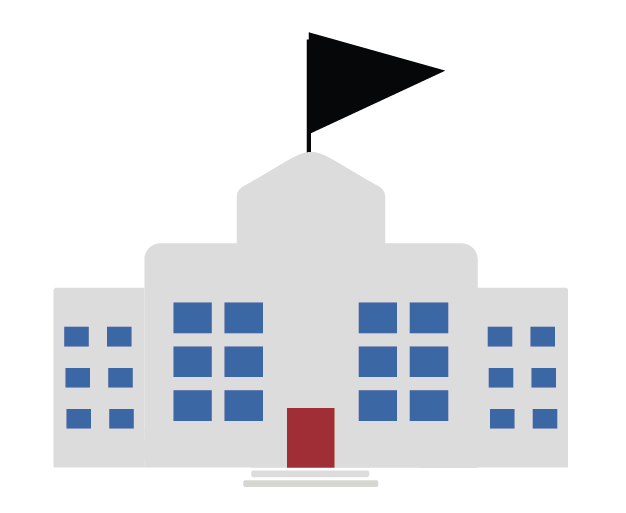 Graphic showing a school building