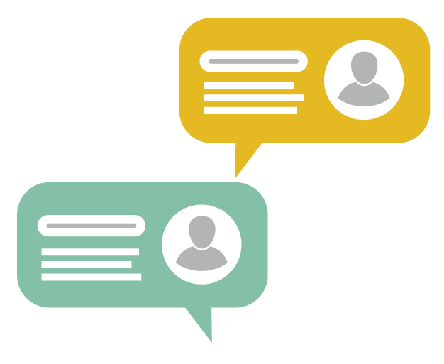 Graphic showing online chat box